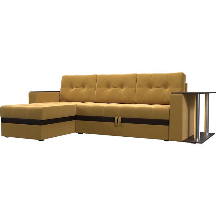 Угловой диван Мебелико Атланта М микровельвет желтый левый угол