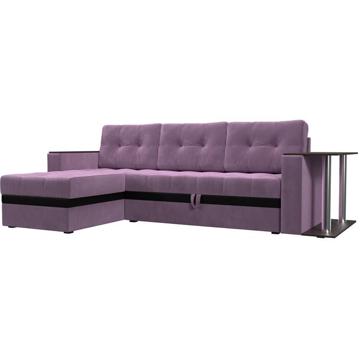 Угловой диван Мебелико Атланта М микровельвет сиреневый левый угол