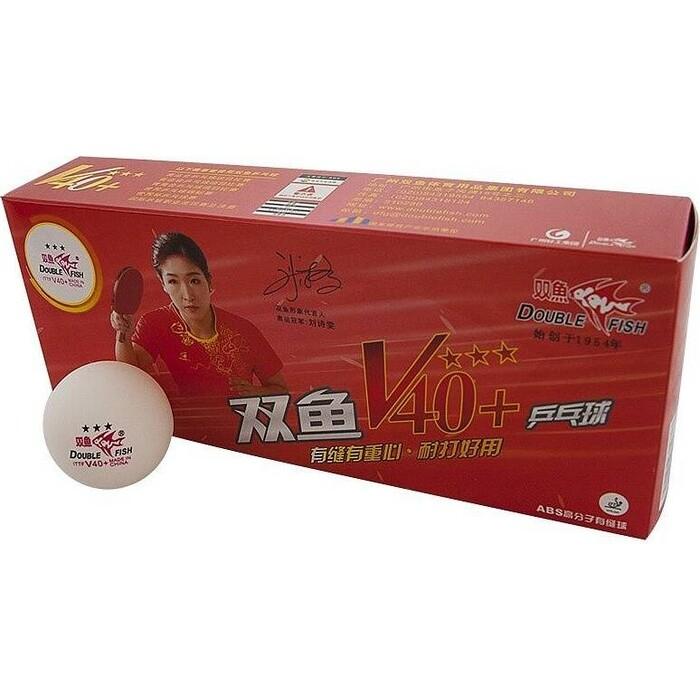 Мяч для настольного тенниса Double Fish 3*** арт. V111F1 диам. V40+ мм ITTF Appr пластик упак.10 шт. белый