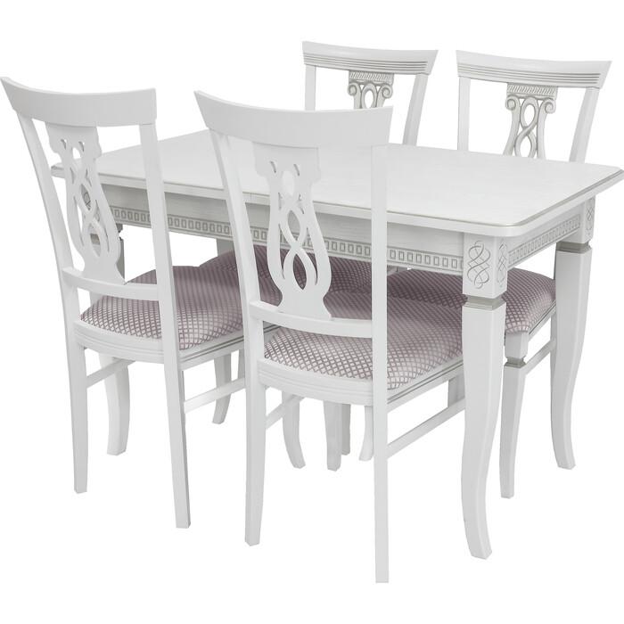 Картинка для Набор мебели для кухни Leset Дакота 1Р белый + патина серебро