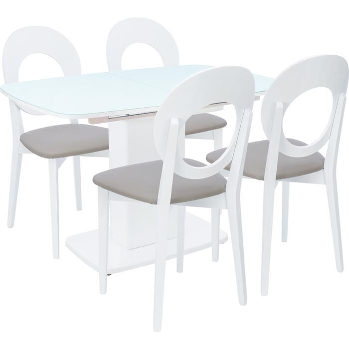 Картинка для Набор мебели для кухни Leset Денвер 1Р белый лак/стекло белое