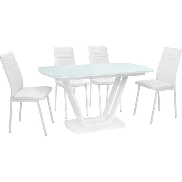Набор мебели Leset для кухни Каби металл белый/стекло белое