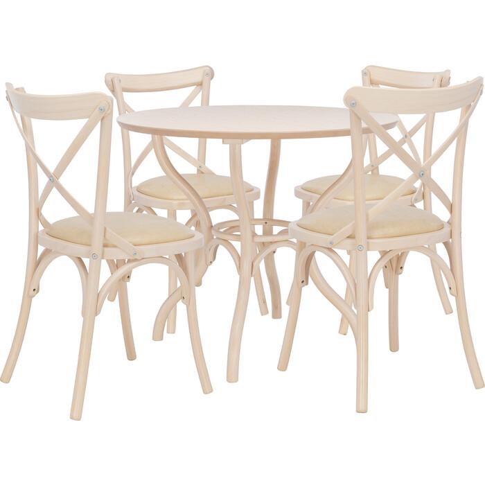 Набор мебели Leset для кухни Тор круглый беленый дуб