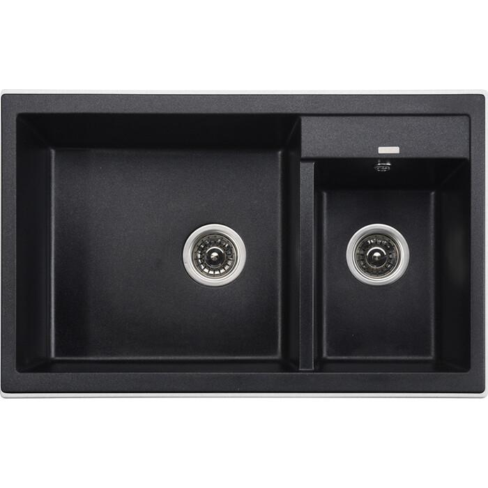 Кухонная мойка Kaiser Granit KG2M-8050 Black Pearl черный мрамор (KG2M-8050-BP)