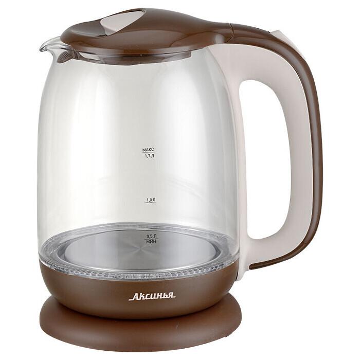 Чайник электрический Аксинья КС-1020 коричневый с бежевым