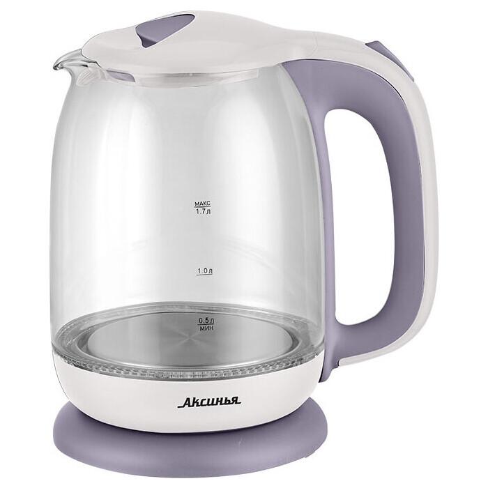 Чайник электрический Аксинья КС-1020 белый с фиолетовым