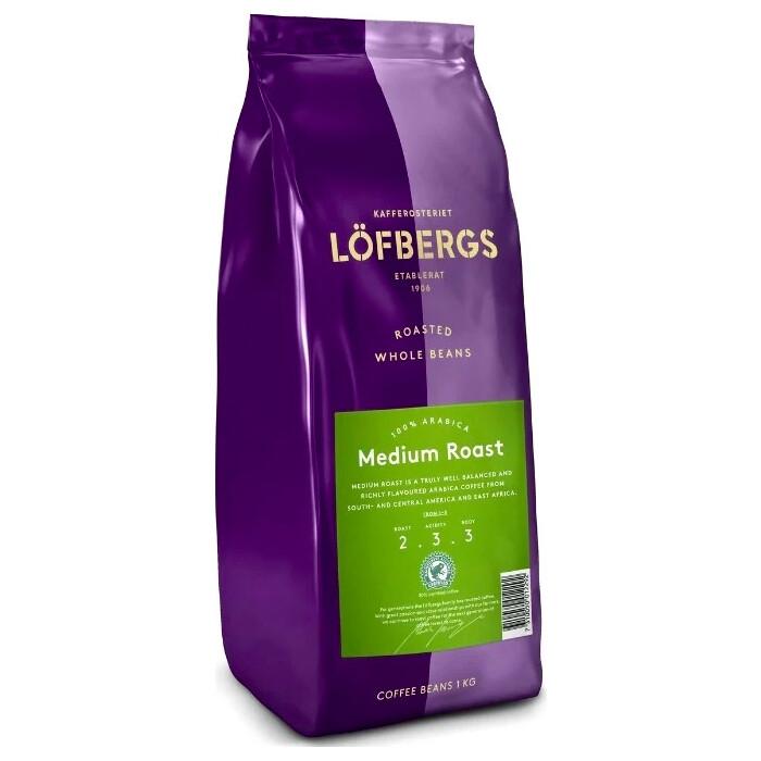Кофе в зёрнах Lofbergs Medium Roast 1 кг кофе молотый lofbergs medium roast in cup 250 г
