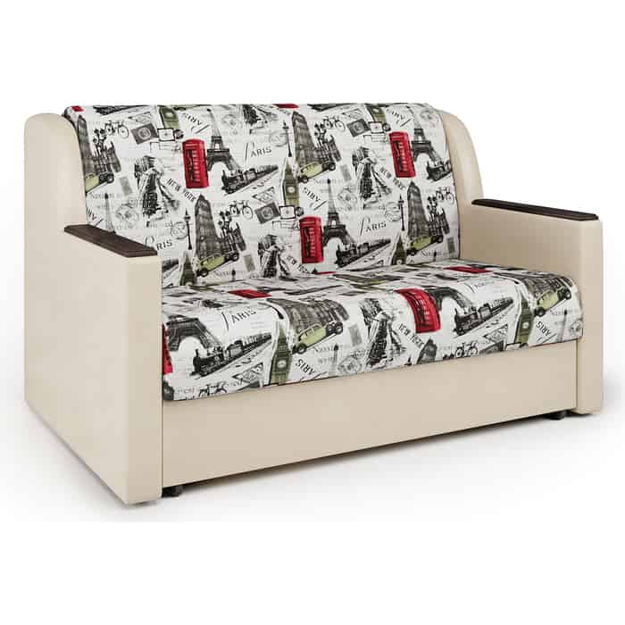 Шарм-Дизайн Диван-кровать Аккорд Д 100 велюр Париж и экокожа беж