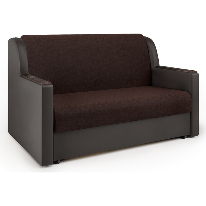Шарм-Дизайн Диван-кровать Аккорд Д 140 рогожка шоколад и экокожа