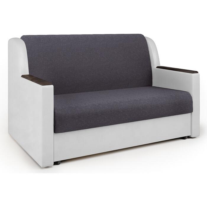 Шарм-Дизайн Диван-кровать Аккорд Д 140 серая рогожка и экокожа белая диван диван софа каприз квадраты на сером фоне и серая рогожка ппу каприз