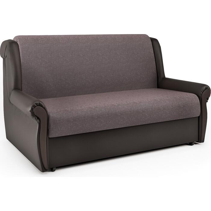 Шарм-Дизайн Диван-кровать Аккорд М 100 рогожка латте и экокожа шоколад