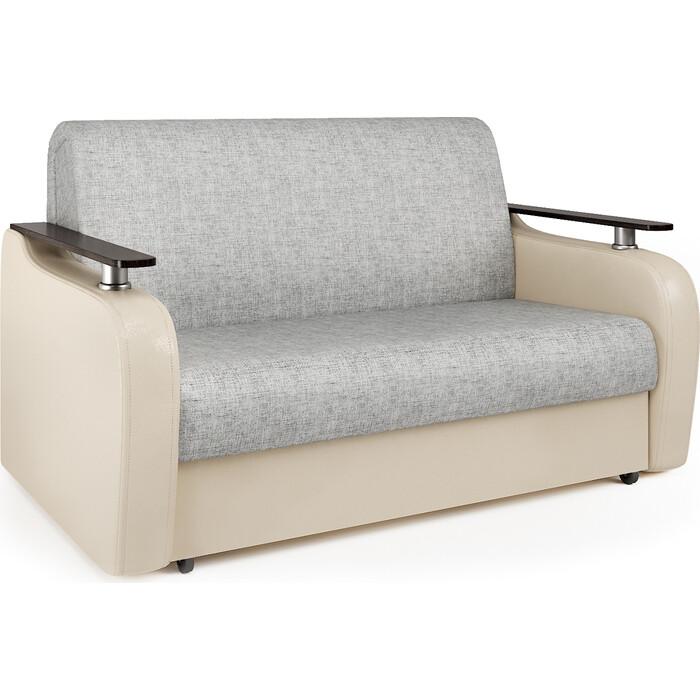 Диван-аккордеон Шарм-Дизайн Гранд Д 140 экокожа беж и серый шенилл