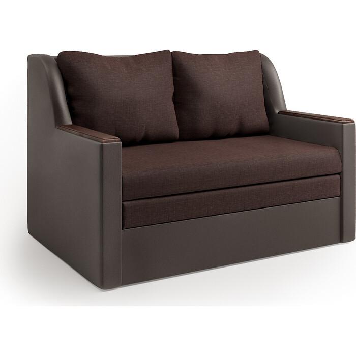 Диван-кровать Шарм-Дизайн Дуэт экокожа шоколад и рогожка