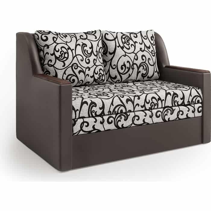 Диван-кровать Шарм-Дизайн Дуэт экокожа шоколад и узоры