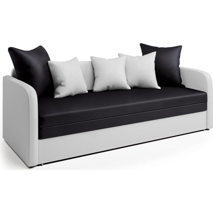 Софа Шарм-Дизайн Трио экокожа белая и черная