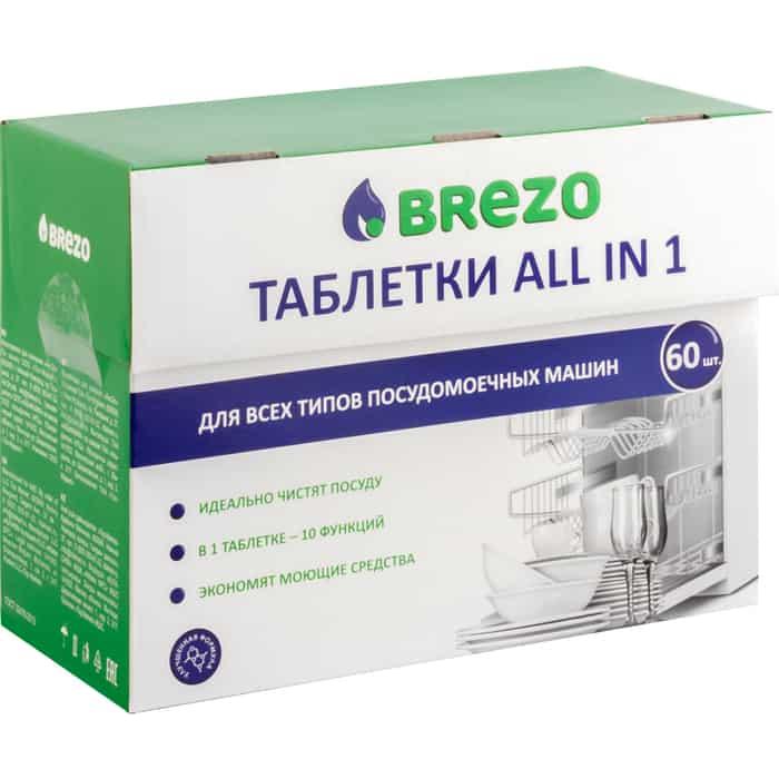 Таблетки для посудомоечной машины (ПММ) Brezo All-in-1 60шт (97016)