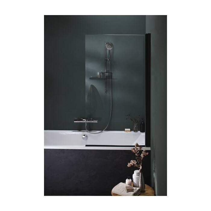 Шторка для ванной Jacob Delafon 140х80 поворотная, черный профиль/прозрачные стекла (E6D042-BLV)