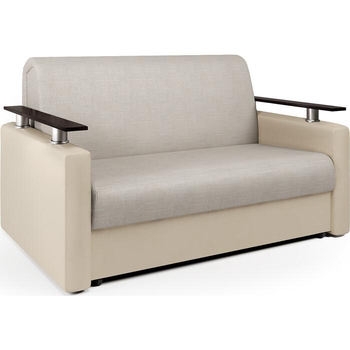 Шарм-Дизайн Диван-кровать Шарм 120 экокожа беж и шенилл беж диван аккордеон шарм 120 экокожа беж и серый шенилл