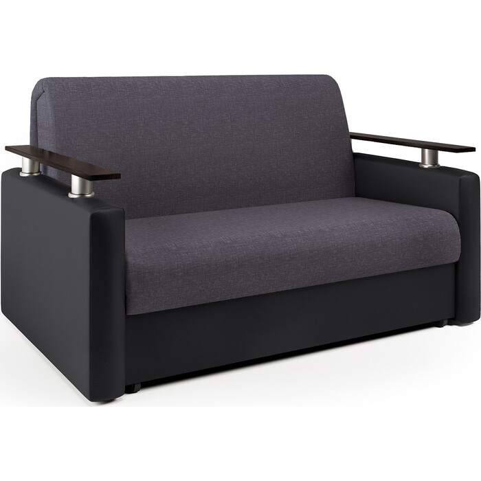 Шарм-Дизайн Диван-кровать Шарм 120 серая рогожка и черная экокожа диван диван софа каприз квадраты на сером фоне и серая рогожка ппу каприз