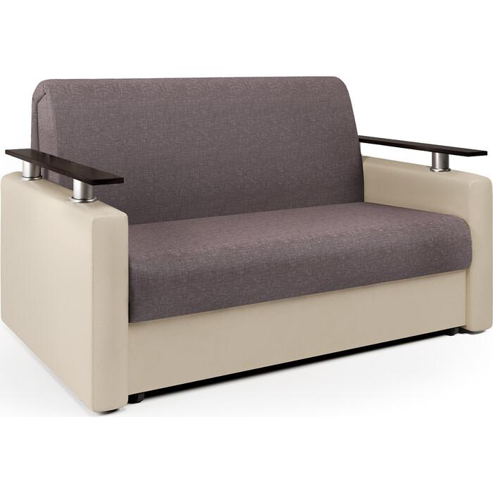 Шарм-Дизайн Диван-кровать Шарм 140 рогожка латте и экокожа беж диван прямой шарм дизайн уют латте