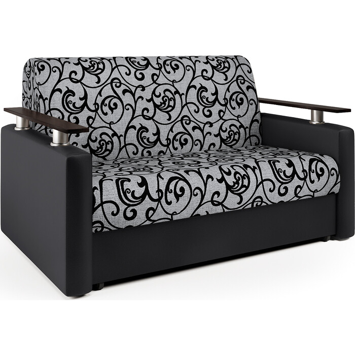 Шарм-Дизайн Диван-кровать Шарм 140 экокожа черная и узоры