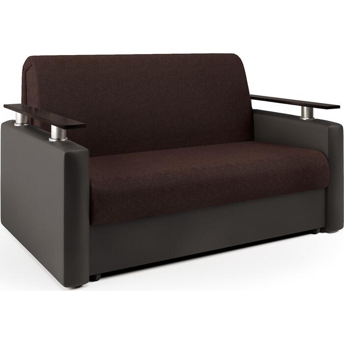 Шарм-Дизайн Диван-кровать Шарм 140 рогожка шоколад и экокожа