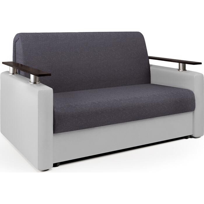 Шарм-Дизайн Диван-кровать Шарм 140 серая рогожка и экокожа белая диван диван софа каприз квадраты на сером фоне и серая рогожка ппу каприз