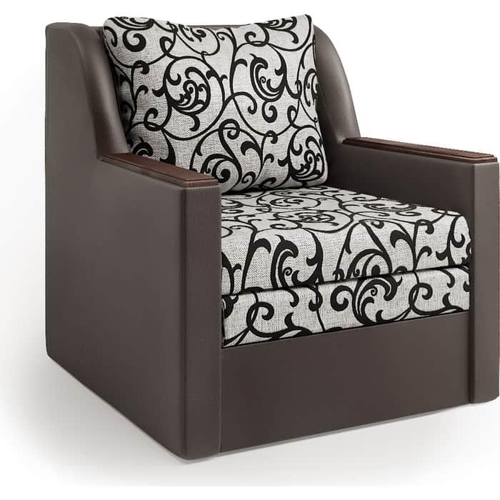 Кресло-кровать Шарм-Дизайн Соло экокожа шоколад и узоры