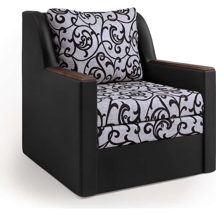 Кресло-кровать Шарм-Дизайн Соло экокожа черный и узоры