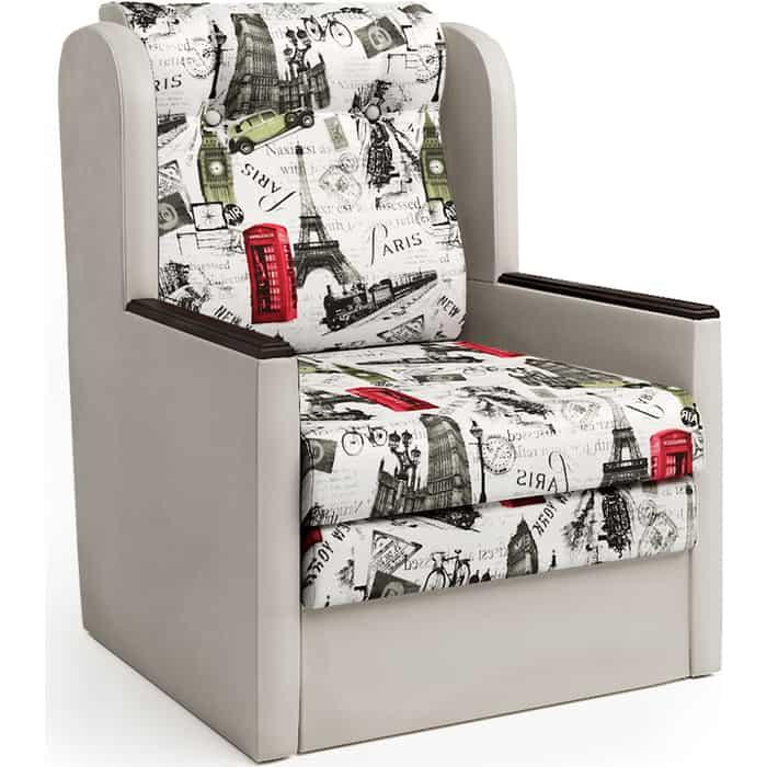 Шарм-Дизайн Кресло-кровать Классика Д экокожа беж и велюр