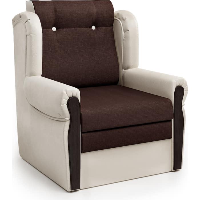 Шарм-Дизайн Кресло-кровать Классика М экокожа беж и рогожка