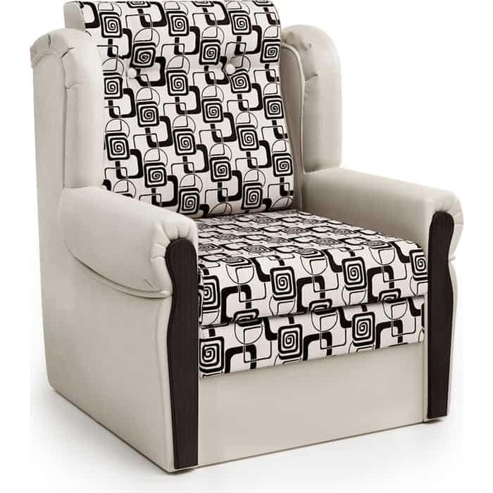 Шарм-Дизайн Кресло-кровать Классика М экокожа беж и ромб