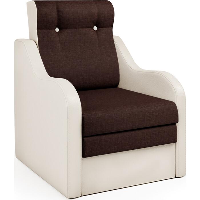 Шарм-Дизайн Кресло-кровать Классика В экокожа беж и рогожка
