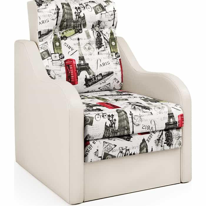 Шарм-Дизайн Кресло-кровать Классика В экокожа беж и велюр