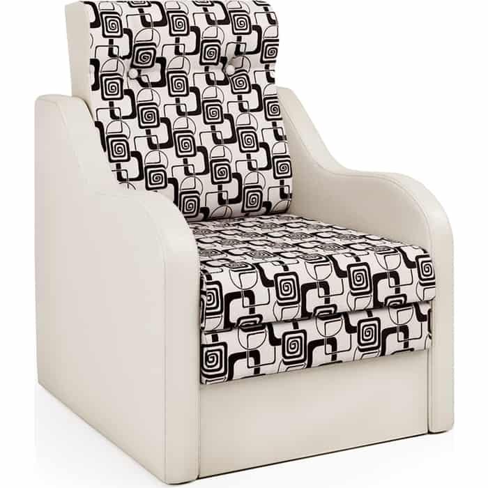 Шарм-Дизайн Кресло-кровать Классика В экокожа беж и ромб