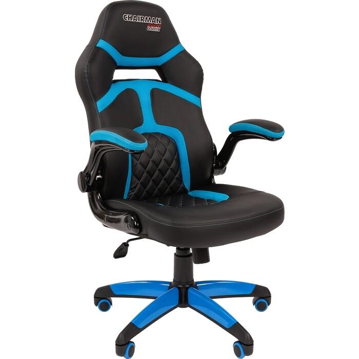 Офисное кресло Chairman Game 18 экопремиум черный/голубой