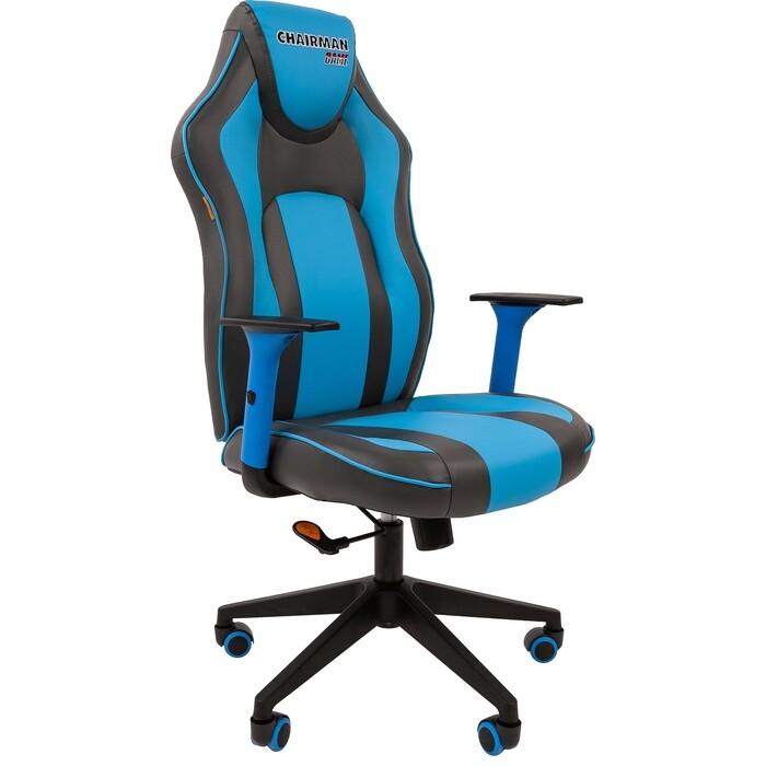 Кресло Chairman Game 23 экопремиум серый/голубой