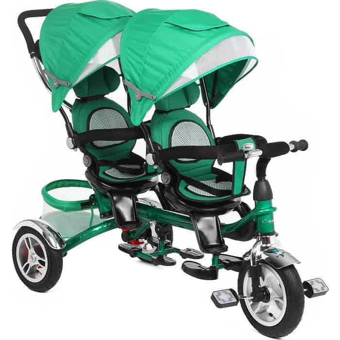 Велосипед Capella 3-кол. для двойни, (1 шт/к), мод. TWIN TRIKE 360, GREEN, надув. колеса, (GL000431070)