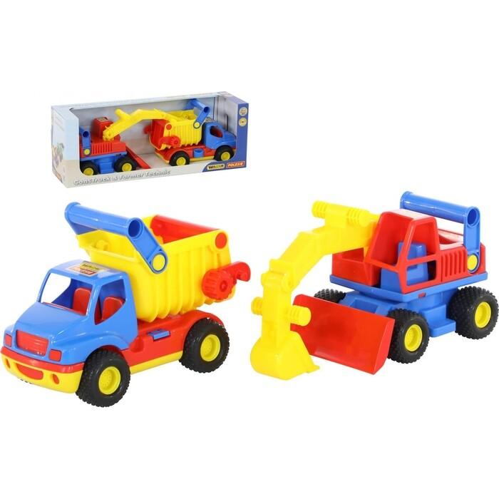 Автомобиль-самосвал Wader КонсТрак, экскаватор колёсный (в коробке), (40855_PLS)