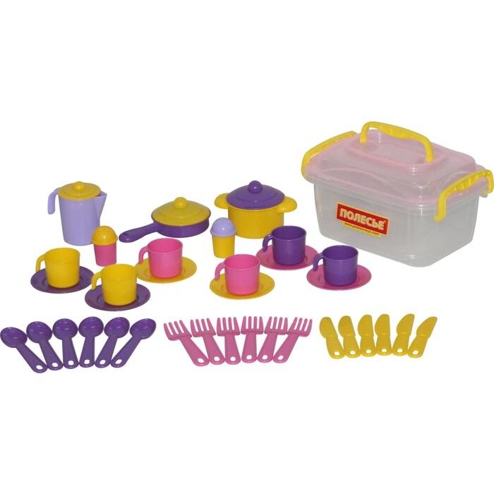 Набор Полесье детской посуды Настенька на 6 персон (38 элементов) (в контейнере), (56580_PLS)