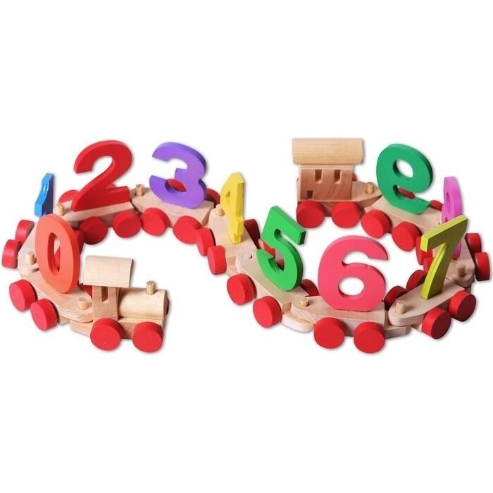 Деревянный паровозик PAREMO с цифрами в пакете, (PE817-7)