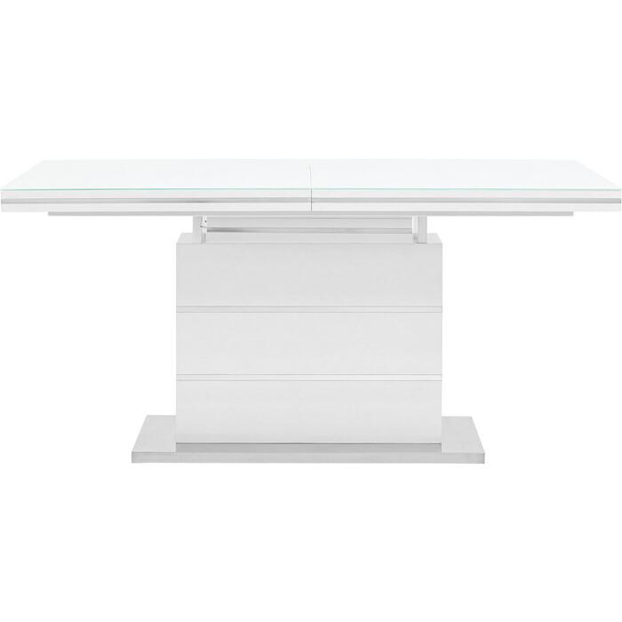 Стол обеденный Stool Group Глазго раскладной глянцевый белый N-115-160-HGW DUAL