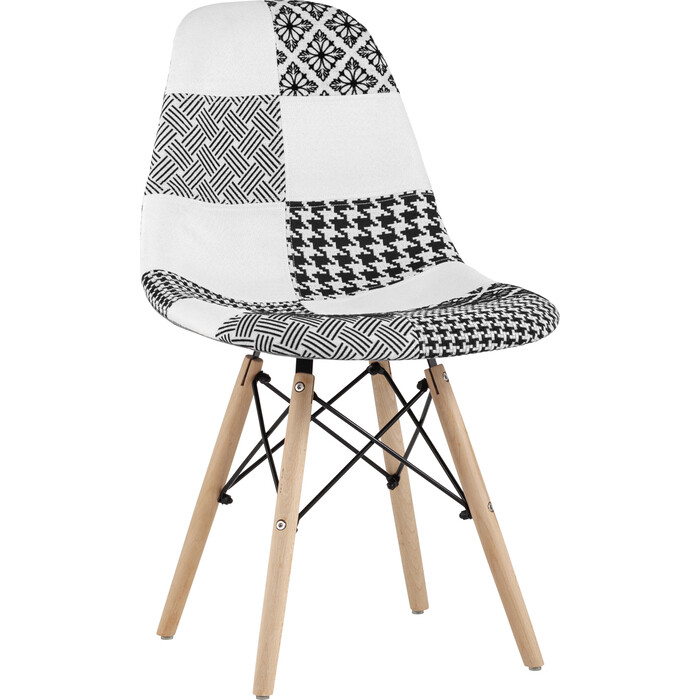 Стул Stool Group Eames пэчворк черно-белое Y808 bw