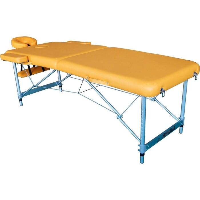 Массажный стол DFC Elegant LUXE, 186x70x4 см, алюм. ножки, цвет горчичный (Mustard)