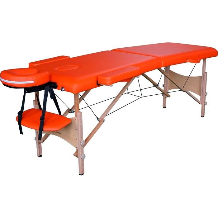 Массажный стол DFC Optima, дерев. ножки, цвет оранжевый (Orange)