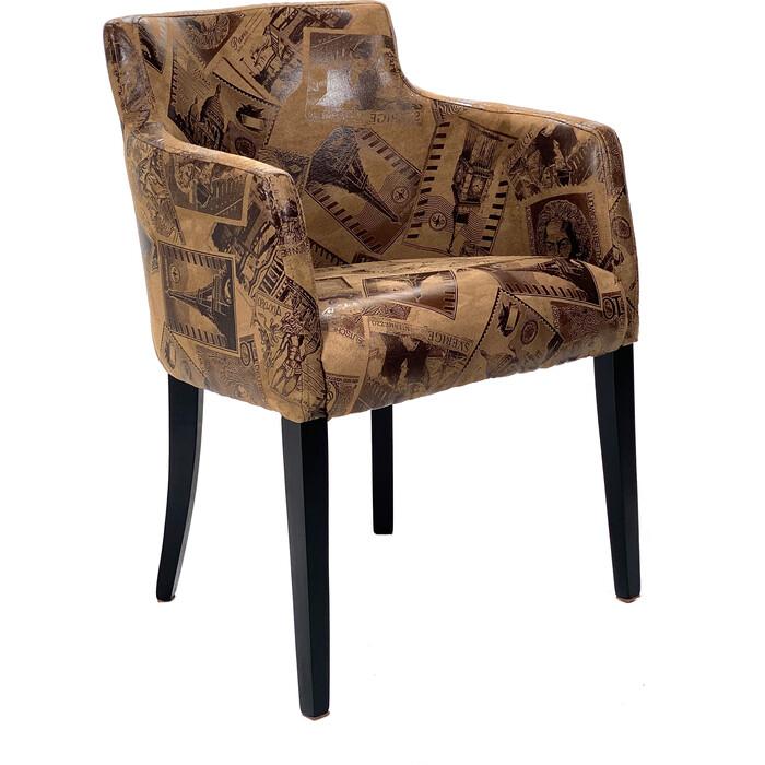 Кресло TetChair Knez бук ножки wenge, ткань коричневый (mega office 34)