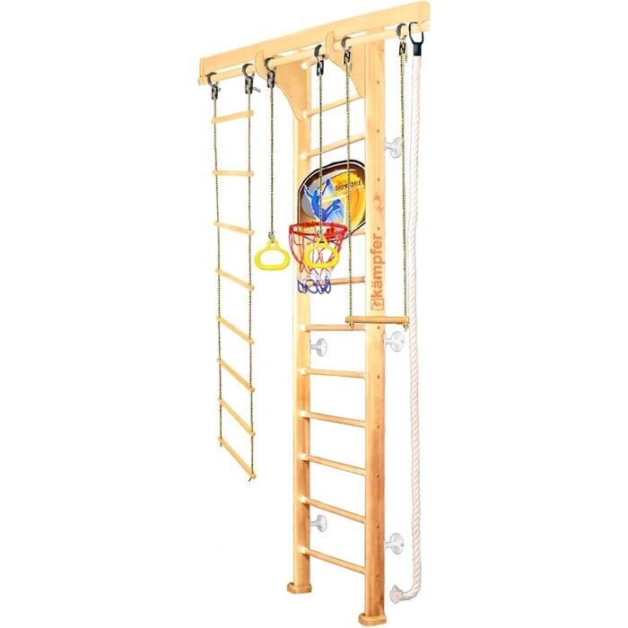 Детский спортивный комплекс Kampfer Wooden Ladder Wall Basketball Shield №1 Натуральный Высота 3 м белый