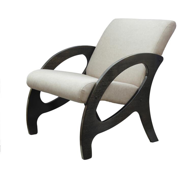 Кресло Мебелик Альма ткань крем/каркас венге/патина