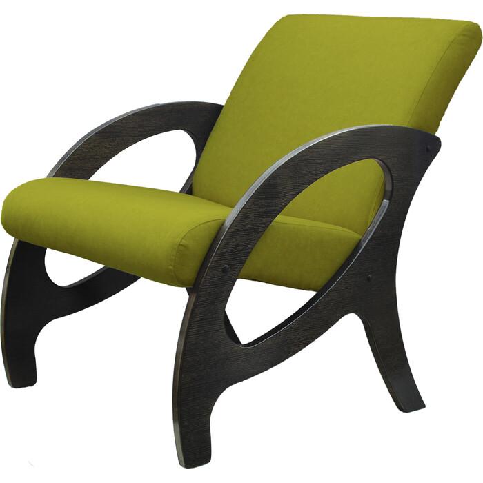 Кресло Мебелик Альма ткань лайм/каркас венге/патина
