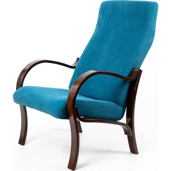 Кресло Мебелик Милан ткань бирюза/каркас орех